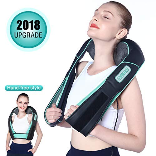 Shiatsu Neck and Shoulder Massager with Heat Hands Free Belt Deep Kneading Massagers for Neck and Shoulder Back Massage to Relieve Pain, Electric Full Body Massage at Car Office Home