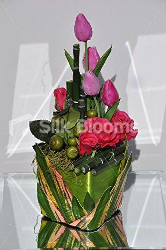 Morado Diseño De Tulipanes De Flores Y De Rosas Fults Jarrón
