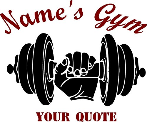 Customized Gym decal w/name & quote- vinyl decal (36''x30'', black/grey) by CreativeSignsnDesigns