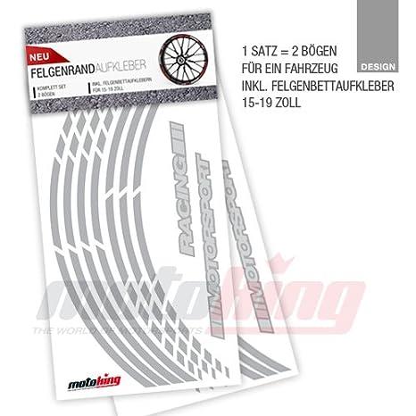 Design 1 Lila Felgenrandaufkleber RS Farbe /& Design w/ählbar Komplettset f/ür 15 16 17 18 19