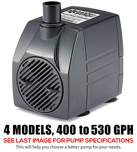 PonicsPump PP40006: 400 GPH Submersible Pump with 6' Cord - 25W… for Hydroponics, Aquaponics, Fountains, Ponds, Statuary, Aquariums & more. Comes with 1 year limited warranty.