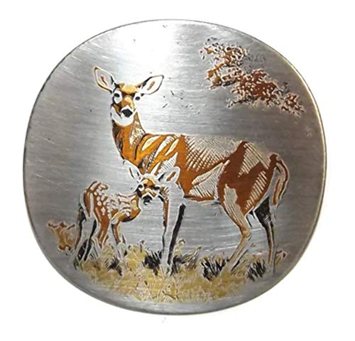 - Vintage Reed & Barton Damascene Mother's Day Deer and Fawn Brooch Pendant