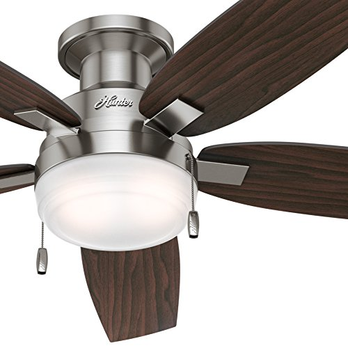 """Hunter Fan 52"""" Contemporary Ceiling Fan in Brushed Nickel with Integrated Cased White Light Kit (Certified Refurbished)"""