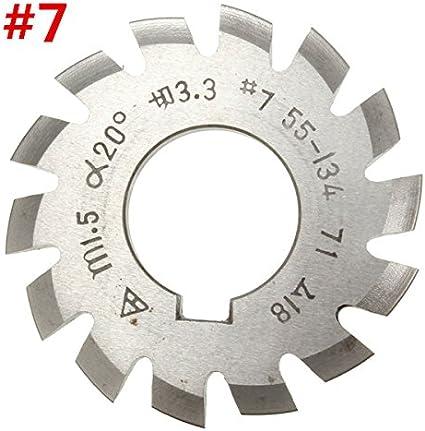 EsportsMJJ M/ódulo 1,5 Pa20 Alesaje 22 Mm #1-8 Fresa De Engranaje Espiral Hss-8 #