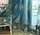 pureaqu Curtains Sheers Rod Pocket Top Window Decoration Panels for Sliding Glass Door Living Room Embroidered Lace Edge Voile Sheer Drapes for Bedroom 1 Panel W52 x H84 Inch