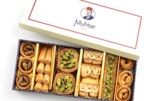 Mix Sweets Gift Box - Muhtar Sweets Premium Quality Baklava Assortment (6.17 Oz Net) - Middle Eastern Mix Petit Gourmet Sweets Gift Box - Arabic, Turkish, Syrian, Lebanese.