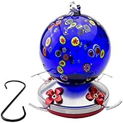 Best Home Products Hummingbird Feeder, Blown Glass, Sky Bubble, 24 Ounces