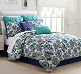 KingLinen 12 Piece Alegro Navy/Spa Blue/Citron Bed in a Bag Set Queen