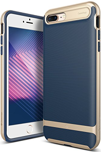 Caseology Wavelength for iPhone 8 Plus Case (2017) / iPhone 7 Plus Case (2016) - Stylish Grip Design - Navy Blue