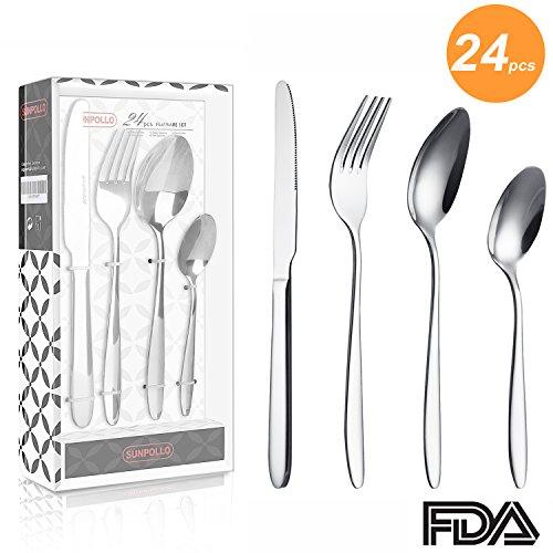 SUNPOLLO 24 Pieces Silverware Set, Flatware Set Service for 6, Stainless Steel Silver Cutlery Set for Kitchen Hotel Restaurant Wedding Party, Mirror Polished, Dishwasher Safe