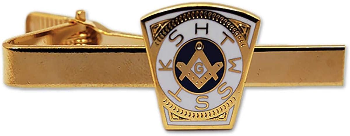 Keystone Masonic Tie Clip - [White & Blue][2 1/4'' Wide]