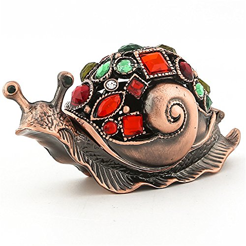 - Waltz&F Bronze snail Figurine Collectible Hinged Trinket Box Bejeweled Hand-painted Ring Holder