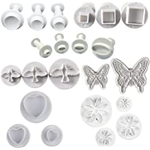 Buytra 22 Pieces Fondant Plunger Cutter Set, Set of 7- Round, Square, Oval, Dove, Butterfly, Daisy, Heart