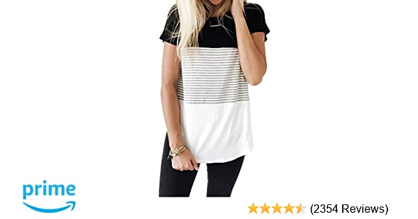afdd4e7bea4 YunJey Short Sleeve and Long Sleeve Round Neck Triple Color Block Stripe  T-Shirt Casual Blouse at Amazon Women s Clothing store