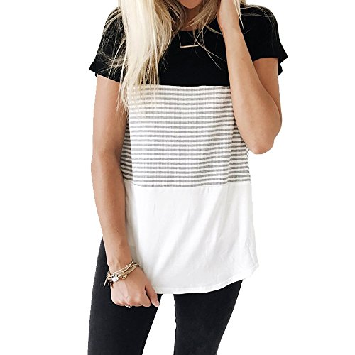 YunJey short sleeve round neck triple color block stripe T-shirt casual blouse,Black,X-Large