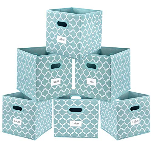 Cloth Storage Bins,Flodable Cubes Box Baskets Containers Organizer for Drawers,Home Closet, Shelf,Nursery, Cabinet, with Dual Plastic Handles, Blue with Lantern Pattern Set of 6 (Aqua Plastic Storage Bin)