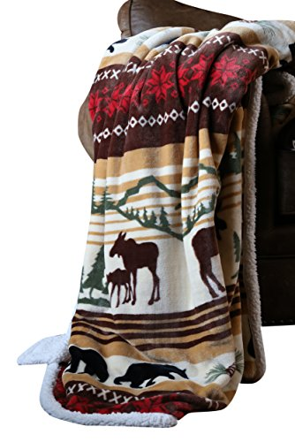 Carstens Soft Sherpa Plush Throw Blanket, Hinterland Collection