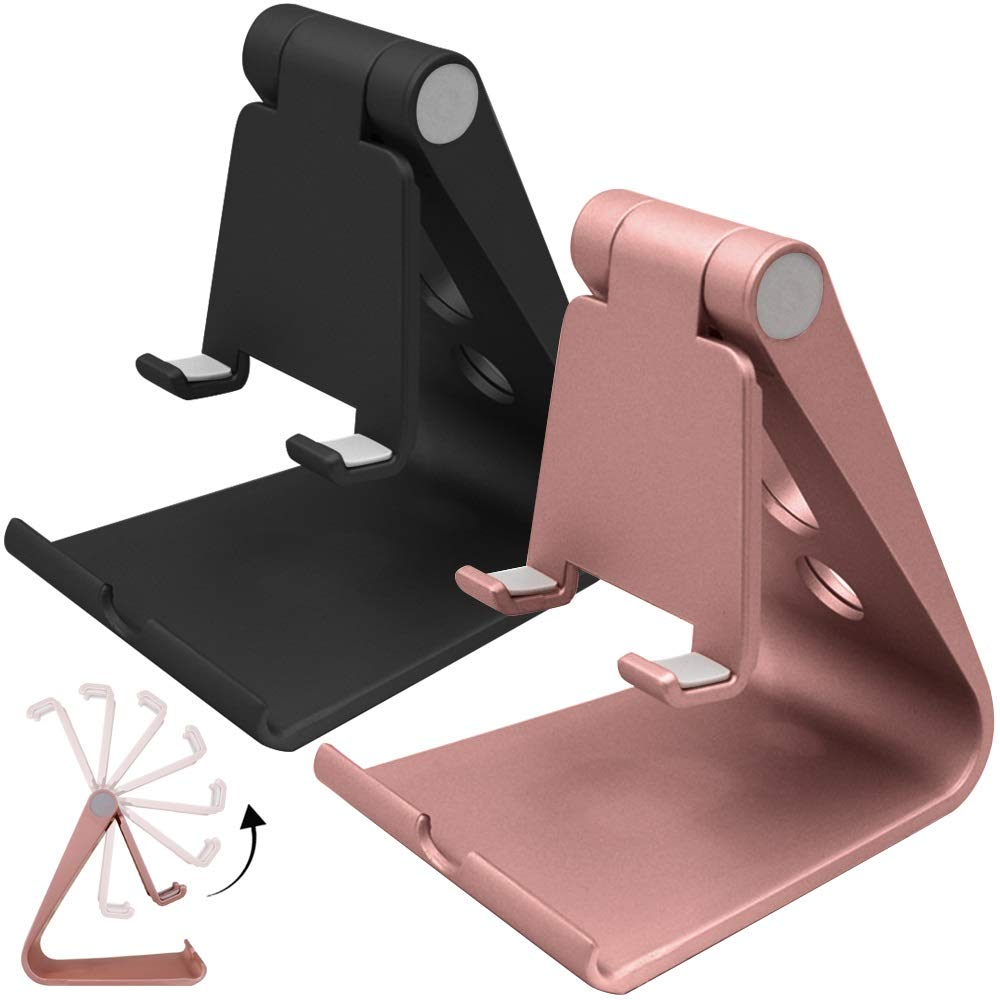 2 Packs Multi-Angle Adjustable Cell Phone Stand, SourceTon Portable Adjustable Desk Stand Mount for iPhone 7 6 6s plus 5 5s 5c charging, Kindle Fire, Android Smartphones, iPad, Tablet ST-cellphone_stand-x