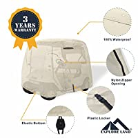 Explore Land 100% Waterproof Golf Cart Cover Universal Fits for 2/4 Passenger Yamaha Club Cart EZGO Golf Cart (Tan)