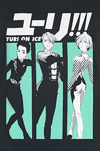 Yuri!!! On Ice Characters Girl-Shirt Schwarz XL