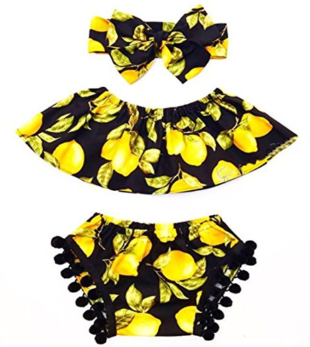 One persent Baby Girl Pear Print Tassel Sleeveless Suit Headband Outfits (18-24M, Yellow) (0 Interest On Purchases For 24 Months)