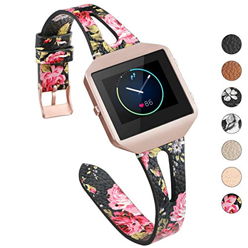 YiJYi Leather Bands Compatible with Fitbit Blaze,Slim Band with Metal Frame Replacement Sport Strap Wristband for Women Men (Black/Pink Floral)