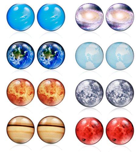 Thunaraz 8 Pairs Unisex Stainless Steel Stud Earrings Galaxy Astronomy Earrings for Girls Boys Universe