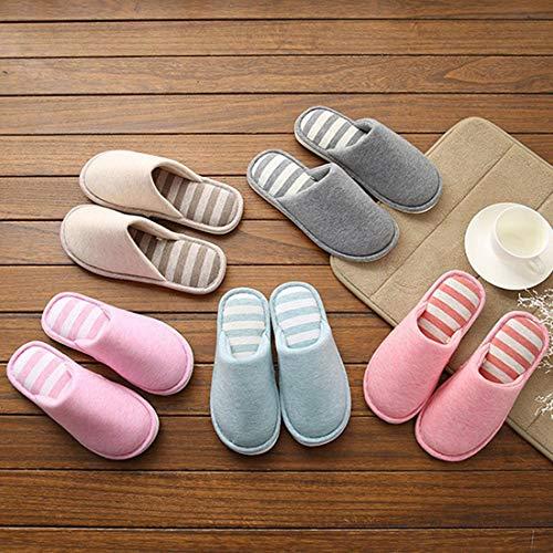 Anti Shoes Winter Cotton Indoor for Stripe Slippers Jiyaru Warm Slip 7 Women Men xgZRwO