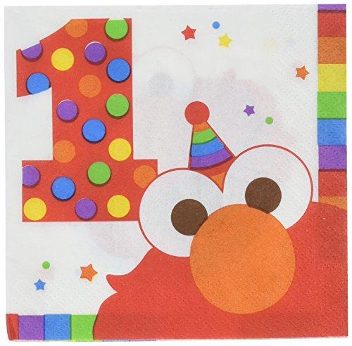 amscan Sesame Street 1st Birthday 'Elmo Turns One' Small Napkins (16ct)