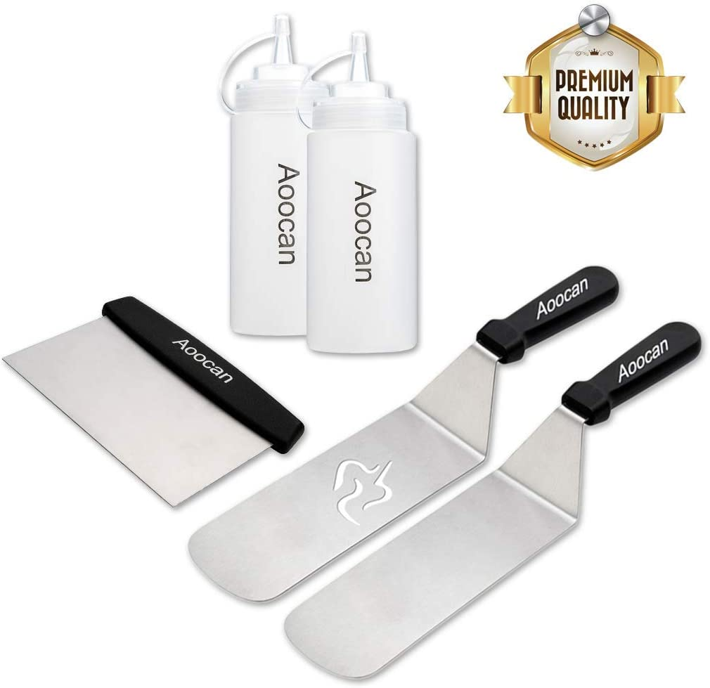 Aoocan Griddle Accessories, Professional Griddle Set, 2 Spatulas, 1 Chopper Scraper, 2 Bottles – 5 Piece Perfect BBQ Griddle Accessories kit for Flat top Cooking, Camping and Tailgating