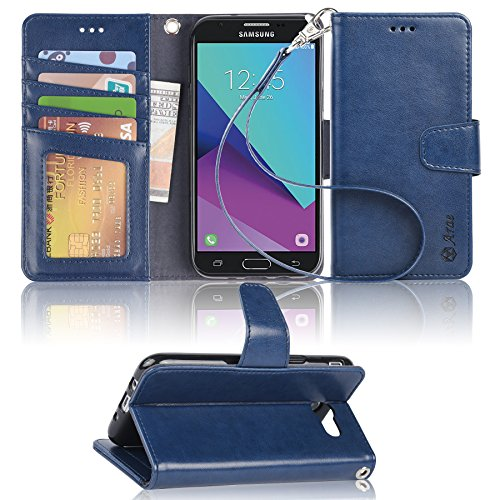 Galaxy J7 V / J7 2017 / J7 Prime / J7 Perx / J7 Sky Pro/Galaxy Halo Case, Arae Samsung Galaxy J7 2017 Wallet Case with Kickstand and Flip Cover, Blue by Arae