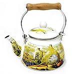 Enamel Kettle Tea Pot 1.5 Liter Olive IH Induction cooker Available Enamel painted Stainless steel Wood handle