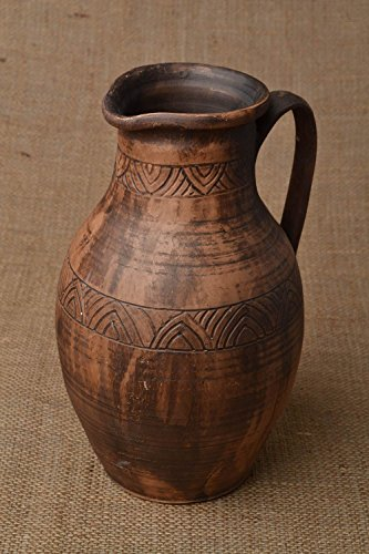 Clay Large Jug 3.5 L Milk Firing Technique Handmade Ceramic Pottery Pitcher - Great Gift Idea By ()