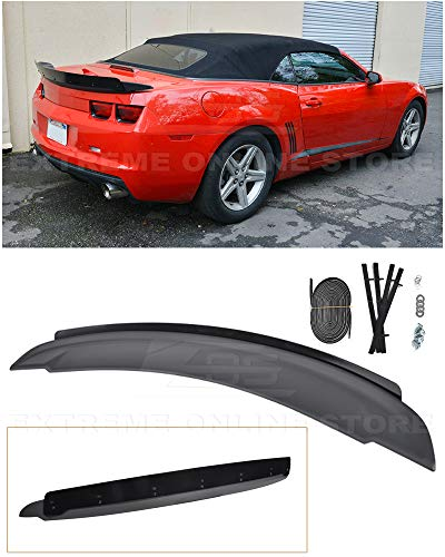 Extreme Online Store for 2010-2013 Chevrrolet Camaro | EOS ZL1 Style ABS Plastic Primer Black Rear Trunk Lid Wing Spoiler W/Aluminum Glossy Black Center WickerBill Insert