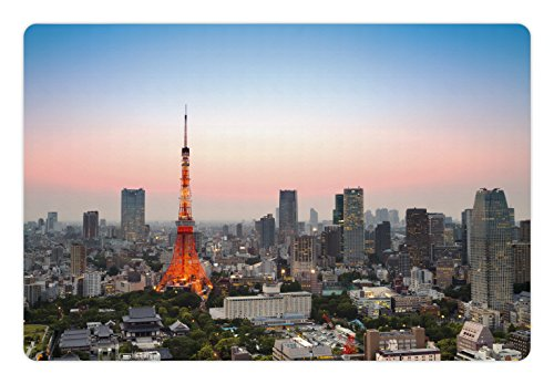 Lunarable Urban Pet Mat for Food and Water, Tokyo City Skyline at Sunset A Tower and the Skyscrapers Digital Asia Print, Rectangle Non-Slip Rubber Mat for Dogs and Cats, Grey ()