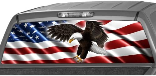 P423 Flag Eagle Camo Rear Window Tint Graphic Decal Wrap Back Pickup Graphics