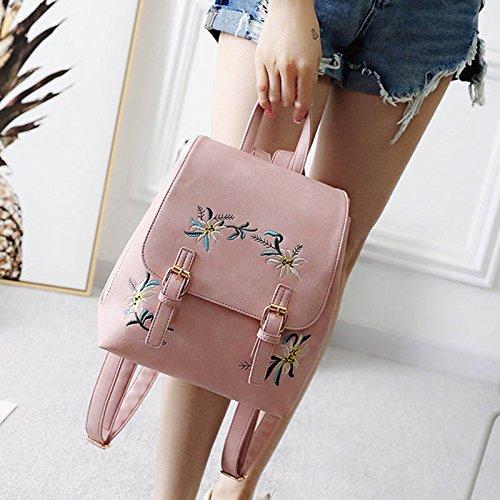 Espeedy Moda mujer mochila cuero estilo étnico flores bordado señoras escuela niñas bolsa gran capacidad para compras de viajes rosa