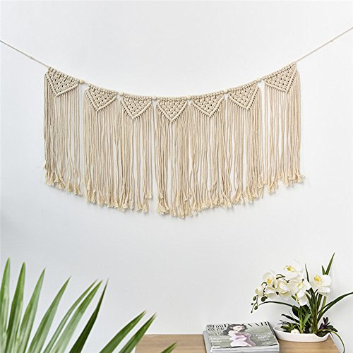 Macrame Wall Hanging, OJIA Hand woven Tapestry Bohemian Chic Wall Décor, Home Geometric Art Décor for Beautiful Room Decoration (35.53 x 13.78 Inch) by Ojia