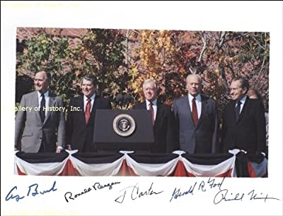 Signed Photograph - 5 Presidents - Carter, Reagan, Bush, Nixon, Ford