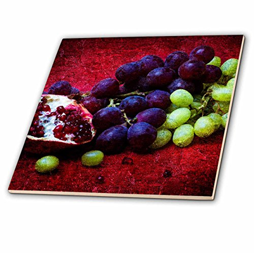 Ceramic Mix Fruit - 3dRose Alexis Photography - Food Fruit Mix - Half of pomegranate, red and green grapes, red background - 8 Inch Ceramic Tile (ct_270468_3)