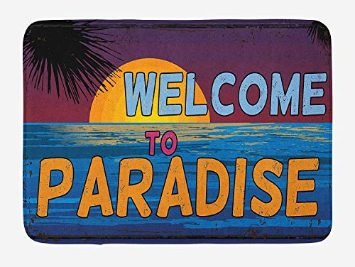 Quote Bath Mat, Tropic Island Scene Sunset with Palm Trees and Welcome to Paradise Greeting Phrase, Plush Bathroom Decor Mat with Non Slip Backing, 23.6 W X 15.7 W Inches, Multicolor