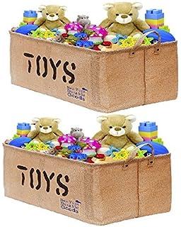[2-Pack, 22inch Jute] XXL Jute Storage Container Bin Basket Organizer EASY