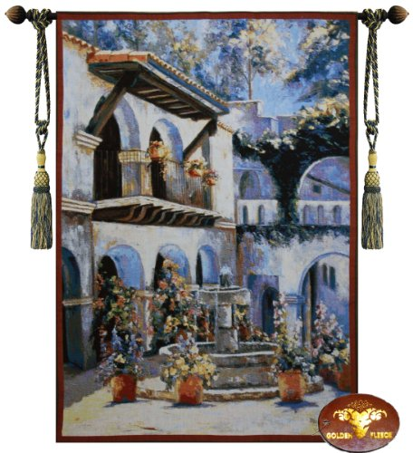 Beautiful Placita De Las Flores Fine Tapestry Jacquard Woven Wall Hanging Art (Italian Tapestry Wall Hanging)