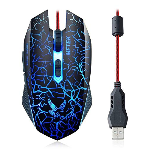 MFTEK Wired USB Gaming Mouse 800-1200-1600-2000 Adjustable DPI LED Backlit for Windows Laptop/PC Gamers Optical 6 Mechanical Buttons Light Weight & Durable Nylon Braided Wire