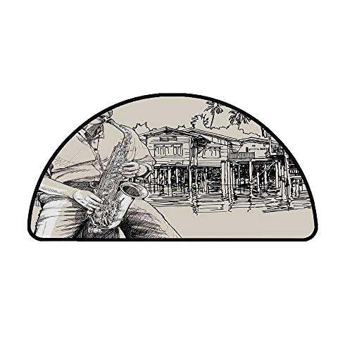 (Jazz Music Comfortable Semicircle Mat,Art with Jazz Saxophonist Playing at River Bank Palm Trees Bungalow Reflection for Living Room,13.7