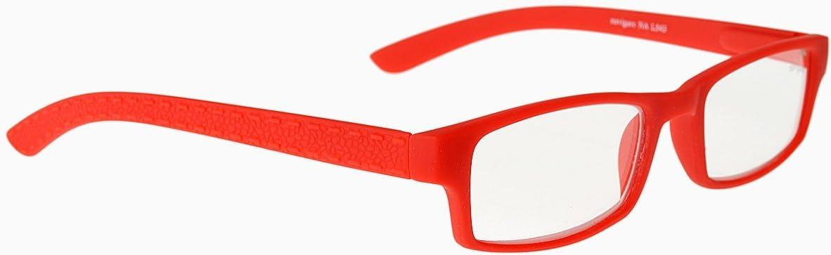 NAVIGARE NA L543 Occhiali da lettura aste flessibili in policarbonato ultra leggero asteflex, lenti asferiche ultra sottili ed infrangibili (Rosso,