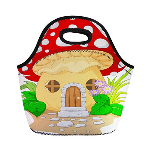 Semtomn Lunch Bags Beautiful Funny Cartoon Mushroom House Building Childlike Children Cottage Neoprene Lunch Bag Lunchbox Tote Bag Portable Picnic Bag Cooler Bag