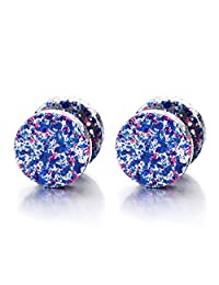 2pcs 10MM Colorful Screw Stud Earrings for Men Women, Stainless Steel Cheater Fake Ear Plugs Gauges Illusion Tunnel