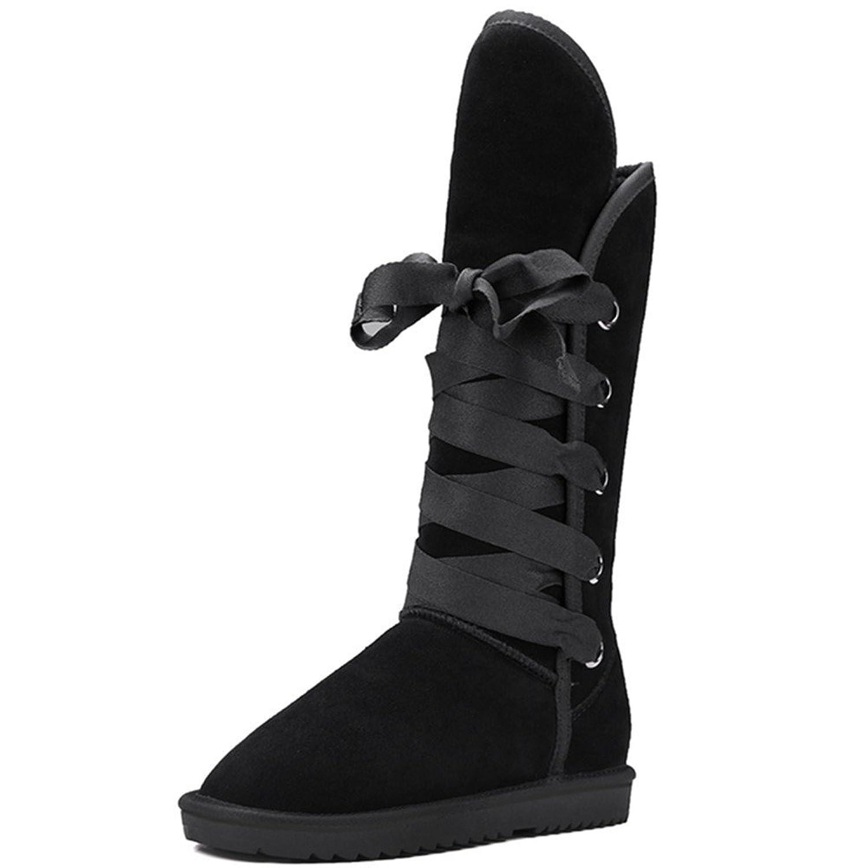 Nine Seven Nubuck Leather Women's Round Toe Flat Heel Lace Up Handmade Mid Calf Snow Boot