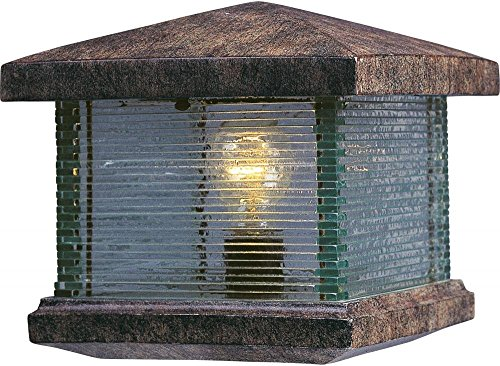 (Maxim 48736CLET Triumph VX 1-Light Outdoor Deck Lantern, Earth Tone Finish, Clear Glass, MB Incandescent Incandescent Bulb , 40W Max., Dry Safety Rating, 2900K Color Temp, Standard Dimmable, Glass Shade Material, 4000 Rated Lumens)
